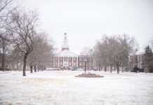 Snowy Main Quad with Derryberry Hall in background