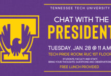 Tennessee Tech University Chat with the President is Tuesday, Jan. 28 at 11 a.m.