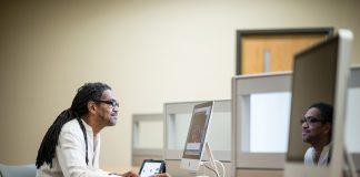 Carl Owens in a computer teaching lab